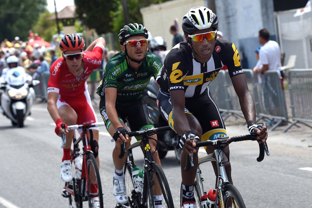 Daniel Teklehaimanot escapes on stage six of the 2015 Tour de France