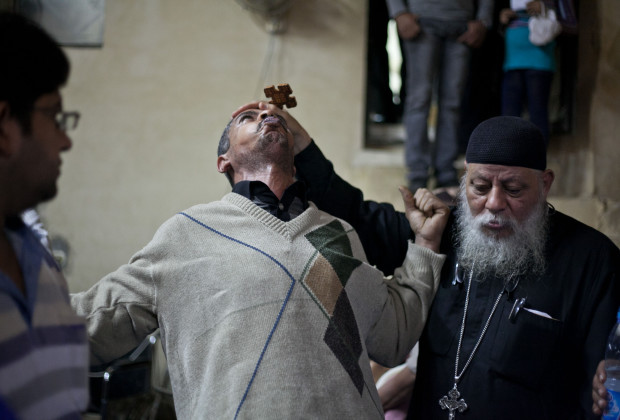 On October 31, 2013,   Father Sama'an Ibrahim give an exorcism to Muslims and Christians.